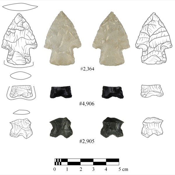 Early Archaic projectile points from Cultural Level 4. The upper specimen is from one of the oldest dated Early Archaic component in Wyoming
